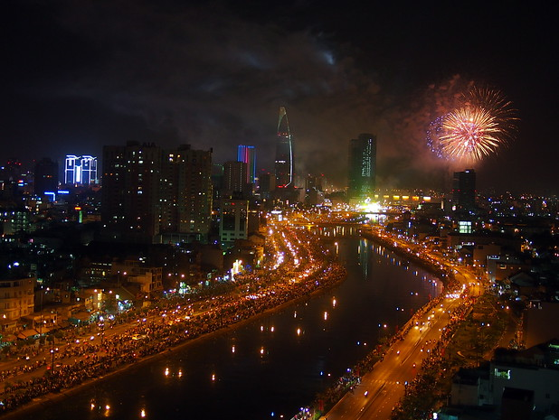 Ringing in the new year from a rooftop in HCMC