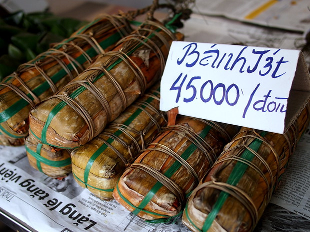 Banh Tet for sale on the streets during Tet in Vietnam
