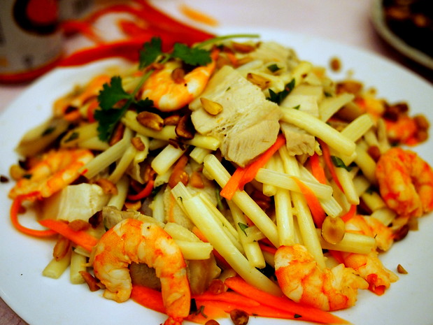Shrimp, bamboo and pig's ear salad for Vietnamese New Year