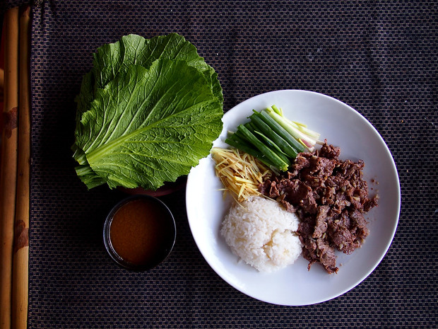Mustard leaves & beef at Nguyen Shack in Vietnam's Mekong Delta