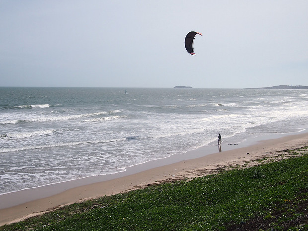 Practicing Kitesurfing Mui Ne