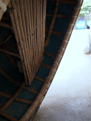 Bambo fishing rafts, inside view.