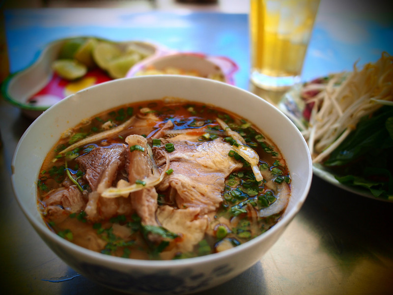 Bun bo hue, spicy and citrusy.