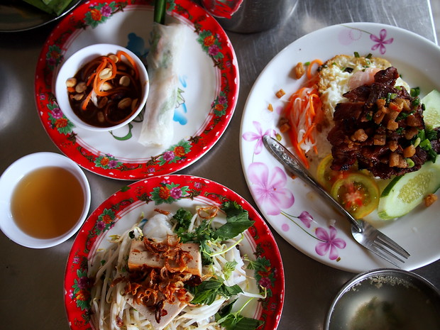 One of my first meals with friends - banh cuon, summer rolls, grilled pork with egg and rice.