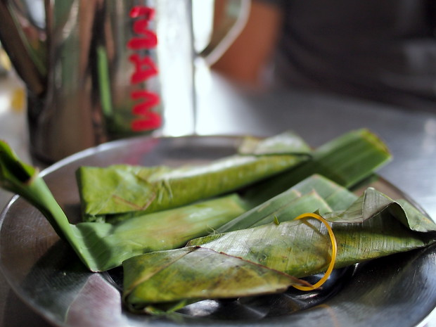 Fermented pork wrapped in banana leaf, Vietnam