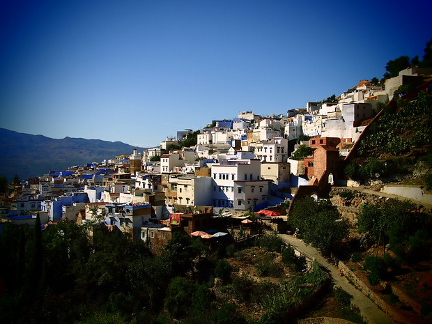 "Chefchaouen as seen from ""The Source"", a waterfall above the city."
