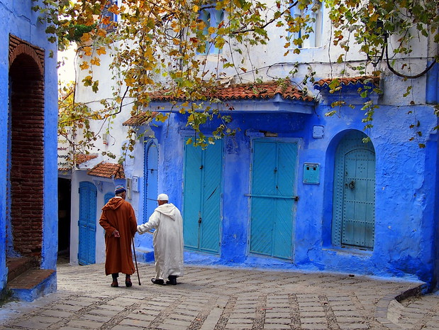 Walking in Chefchaouen, Morocco