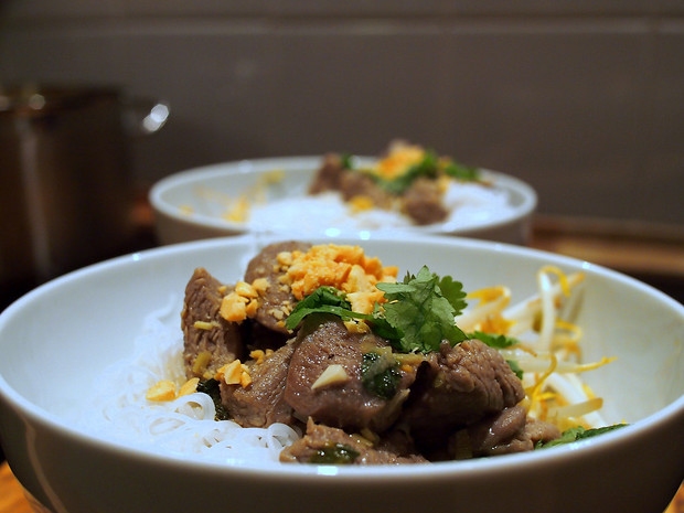 Vietnamese bun bowl with lamb, mint and vermicelli noodles