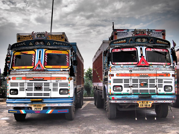 colorful trucks in india
