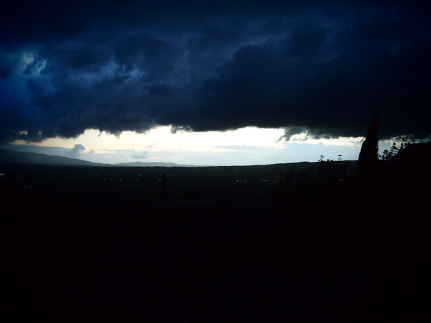 A dark sunset over Mandorli farm in nearby Bovara (Trevi).