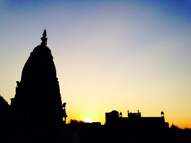 "Sunset in Jaipur's ""small square"""