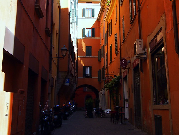 One of the many colourful streets of Bologna, Italy.