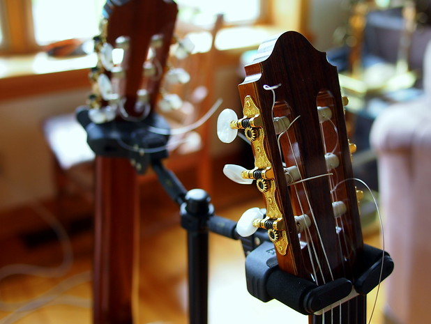 Music for all! My dad & brother's classical guitars.