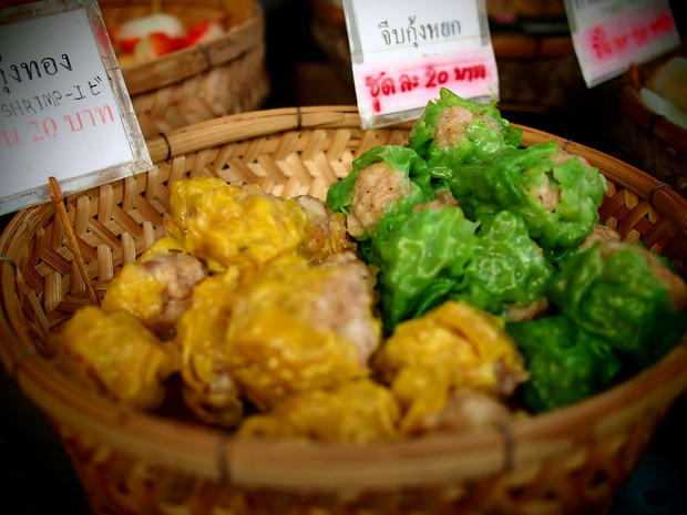 Steamed shumai at the Sunday market in Chiang Mai