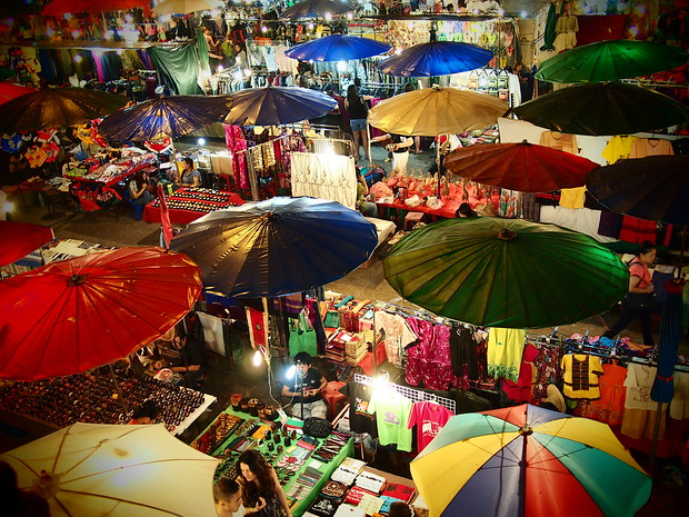 From atop the moat, looking down at Chiang Mai's Sunday market