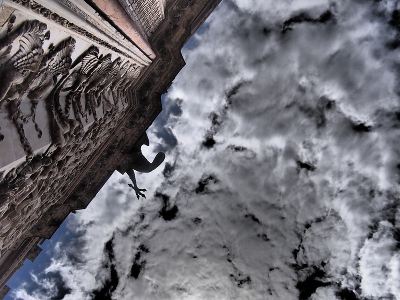Staring up at the sky from the base of the duomo, Orvieto