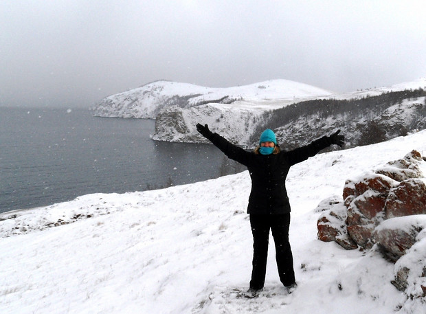 Katie Aune enjoying Olkhon Island in Lake Baikal in November.
