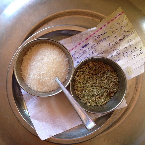 Fennel and sugar in India (Saunf)