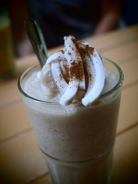 Coconut cinnamon smoothie from Pun Pun, Chiang Mai