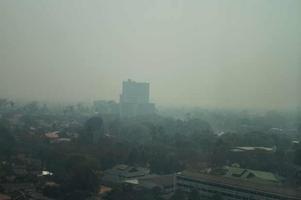 Bad smog in Chiang Mai from fires