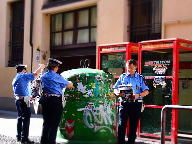 Loved the contrast of the Bologna police uniforms with the telephone booths.