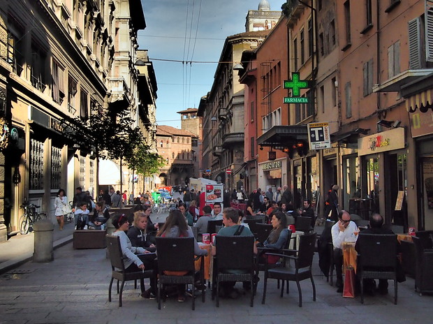 Cafe culture is very prominent in Bologna.