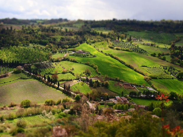 Tilt-shift Orvieto and its surrounding hills