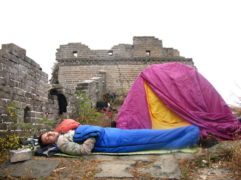 Hubert camping on the great wall of china