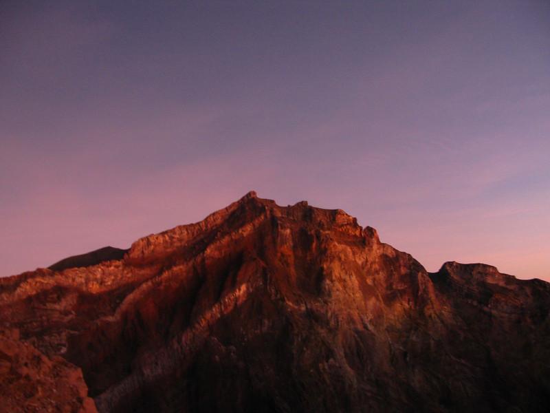 Sun rising on gunung Agung in Bali