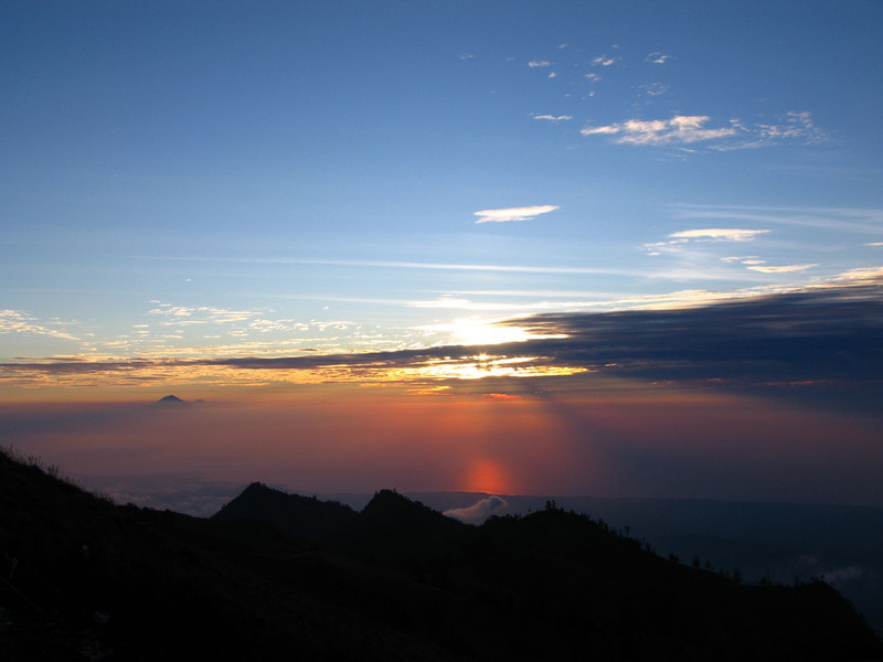 camping at the top of gunung rinjani in Indonesia