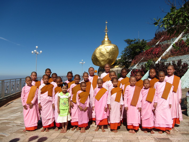 Group of nuns at the Golden Rock in Myanmar