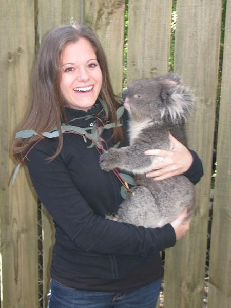 Hugging a koala in Australia